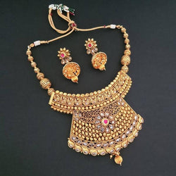 Tanishak Fashions Stone Copper Necklace Set