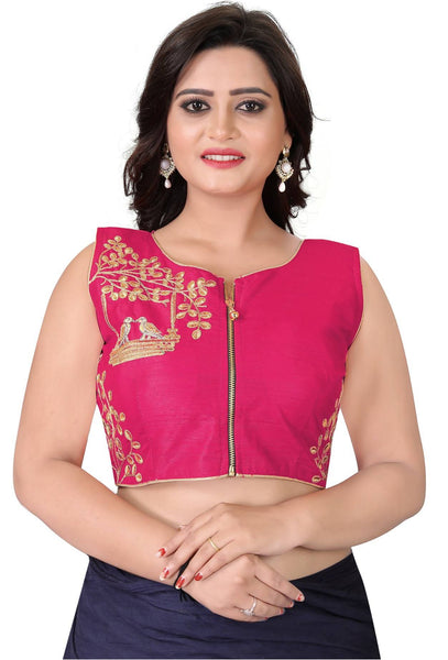 YOYO Fashion Pink Malbari Embriodered Extra Sleeve With Blouse $ YOYO1-BL4008-Pink