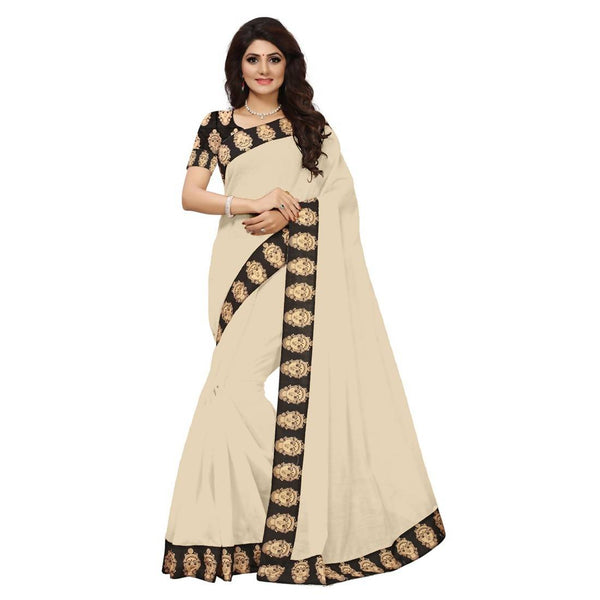 16to60trendz Beige Chanderi Lace Work Chanderi Saree $ SVT00166