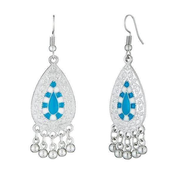 Tanishka Fashion Silver Plated Blue Stone Dangler Earrings $ 1312528B