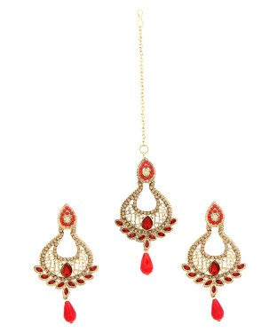 Adoreva Red Stone Gold Plated Bollywood Earrings Tika Set