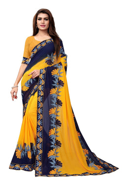 YOYO Fashion Embroidered Georgette Yellow Saree With Blouse $SARI2611-Yellow