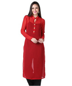 DRAPES & SILHOUETTES Red Kurta