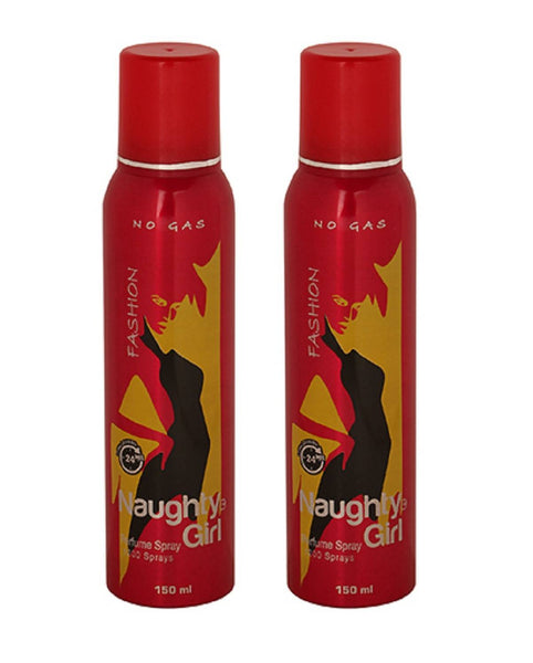 Naughty Girl FASHION No Gas Deodorant for Women-Pack of 2 (150ml each)