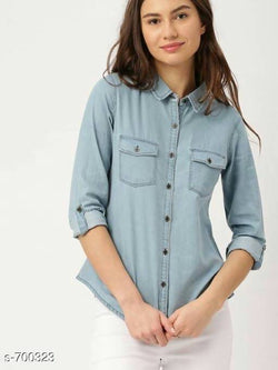 Gaurik Trendy Solid Denim Shirt $ Design No. 11
