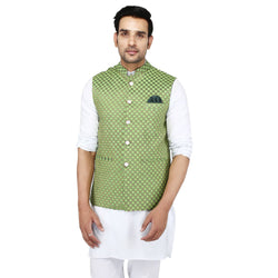 Singhal Fashion Green Banarsi Booti Nehru Jacket