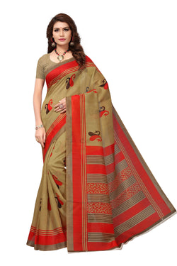 16TO60TRENDZ Brown Color Printed Bhagalpuri Silk Saree $ SVT00454