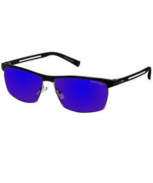 David Blake Blue Mirror Rectangular Sunglass