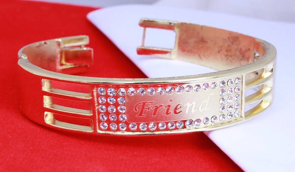 Gold Plated American Diamond Diamond Friend Women's Bracelate for men $ AC0022