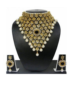 Zaveri pearls gold and pearl necklace with earrings