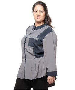 Xny Grey And Navy F/S Top
