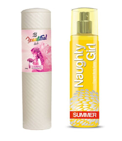 BEAUTIFUL TALC 250gm LAURING & Naughty Girl SUMMER 135 ml (Set of 2 for Women)