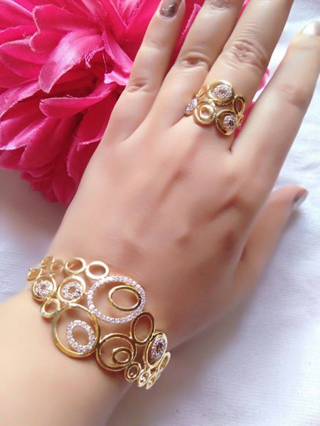 Gold Plated American Diamond New OWL Women's Bracelate $ AC0016