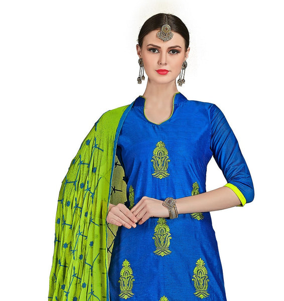 DnVeens Chanderi Cotton Embroidered Salwar Kameez Suit Set Dress Materials for Women $ BLGNGKSR1012