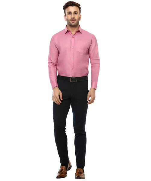 Lee Marc Full Sleeve Lm Pale Pink Formal Shirt