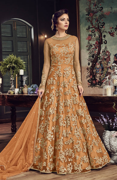YOYO Fashion Orange Net Anarkali Semi-Stitched Salwar Suit With Dupatta $ F1284-Orange