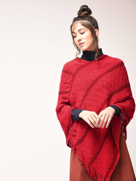 Aiyra Red Color wollen Fringed Red Poncho $ AR15900891_free size