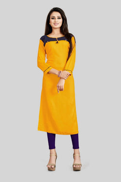 16TO60TRENDZ Mustard Rayon Patch Work Stiched long Kurti $ SVT00178