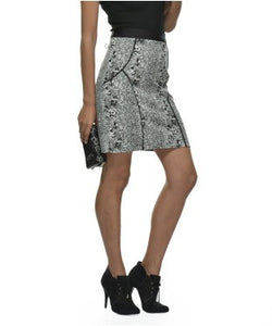 Glam A Gal White,Grey And Black Kneelength Skirts