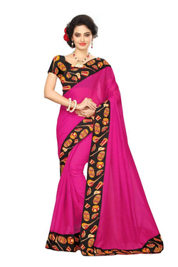 16to60trendz Pink Chanderi Lace Work Chanderi Saree $ SVT00082