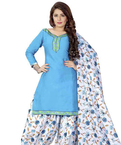 Minu Suits Sky Blue Cotton Salwar Suits Sets Dress Material Freesize,Satinpatyala_6009