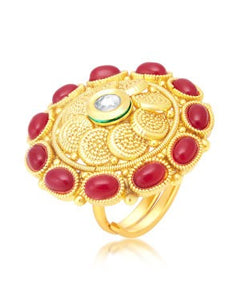Sukkhi Sublime Gold Plated Maroon Studded Stone Ring For Women