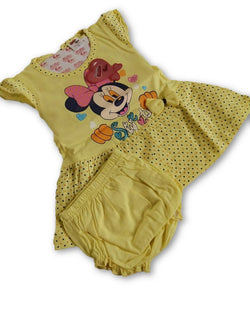 Minnie Printed Frock Combo With Panty Light Yellow $ CP_SC013