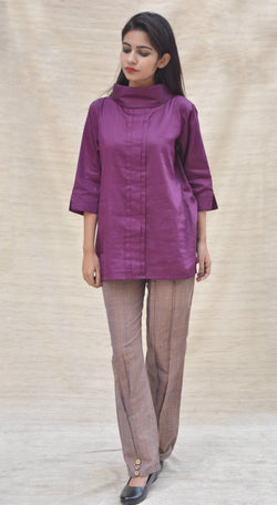 Khadi Silk Turtle Neck Maroon Top $ IWK-000356