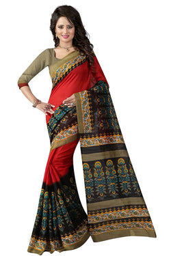 16TO60TRENDZ Red Color Printed Bhagalpuri Silk Saree $ SVT00452