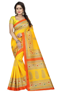 16TO60TRENDZ Yellow Color Printed Bhagalpuri Silk Saree $ SVT00495