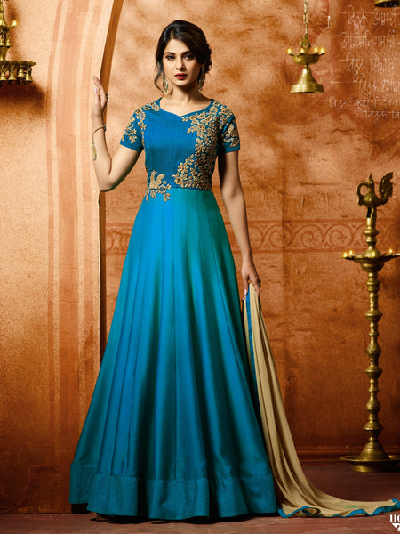 YOYO Fashion Bollywood Designer Silk Anarkali Salwar Suit With Dupatta - F1153 Firoji