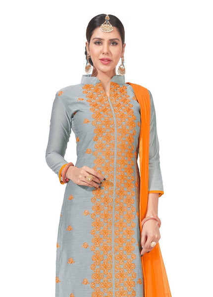 DnVeens Chanderi Embroidered Salwar Kameez Suit Set Dress Materials for Women $ BLGNGITCT08