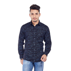 EVOQ Black Printed Shirt With Round Hemline And Smart Spread Collar -Signature Shirt_Black