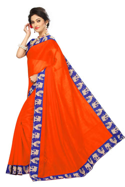 16to60trendz Orange Chanderi Lace Work Chanderi Saree $ SVT00086