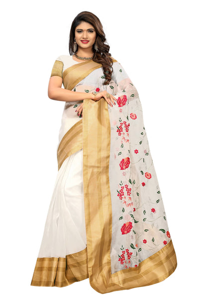 YOYO Fashion New Latest Poli Net White Embroidered Saree With Blouse $ YOYO-SARI2640