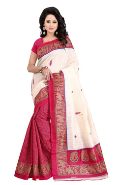 16TO60TRENDZ Pink Color Printed Bhagalpuri Silk Saree $ SVT00496