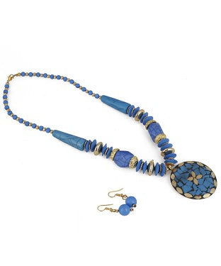 aradhya Alloy, Metal Jewel Set (Blue)