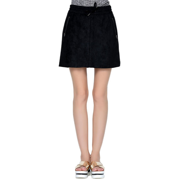 London Rag Black Velvet Mini Skirt-CL7023