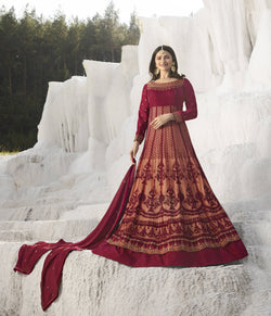 YOYO Fashion Nylon Net Maroon Embroidered Semi-stitched Anarkali Salwar Suit $ YO2-F1265