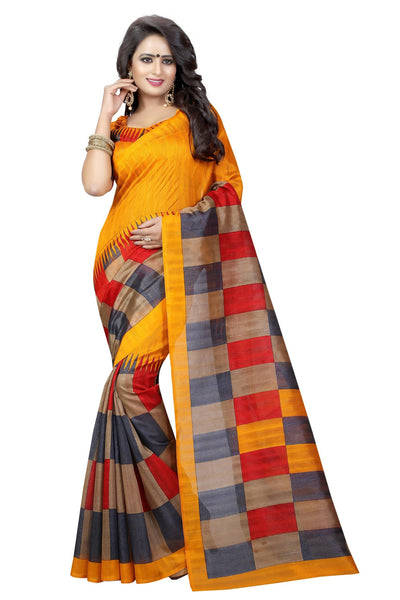 16TO60TRENDZ Orange Color Printed Bhagalpuri Silk Saree $ SVT00475
