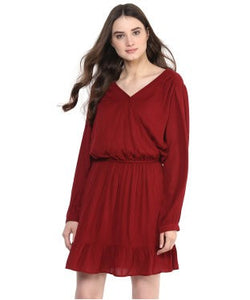Miway Maroon Solid A-Line Dress