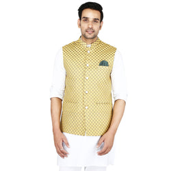 Singhal Fashion Yellow Banarsi Booti Nehru Jacket