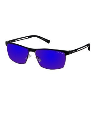 David Blake Blue Rectangular Mirrored Sunglass