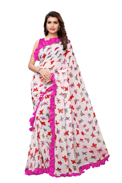 YOYO Fashion Georgette Printed Ruffle Saree $ YO-SARI2656-Pink