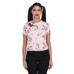 Second Half Pink Floral Print Bottom Frill Rose Patch Crepe Top-SH0066