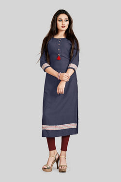 16TO60TRENDZ Navy Blue Rayon Patch Work Stiched long Kurti $ SVT00176