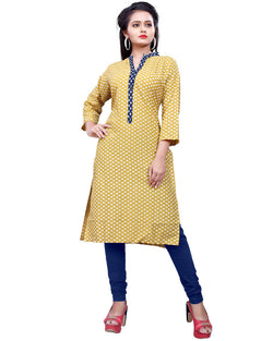 Muta Fashions Women's Stitched Polyster Cotton Yellow Knee length kurta $ KURTI408