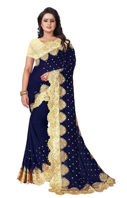 YOYO Fashion Viscouse Navy Blue Embroidered Saree With Blouse $SARI2590