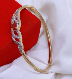 Gold Plated American Diamond Designer Red tilak Women's Bracelate $ AC0014