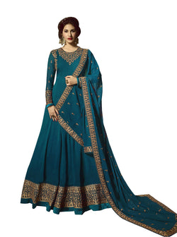 YOYO Fashion Georgette Anarkali Semi-Stitched salwar suit $ F1295-Turquoise